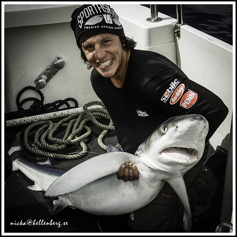 Nicka Hellenberg med en haj
