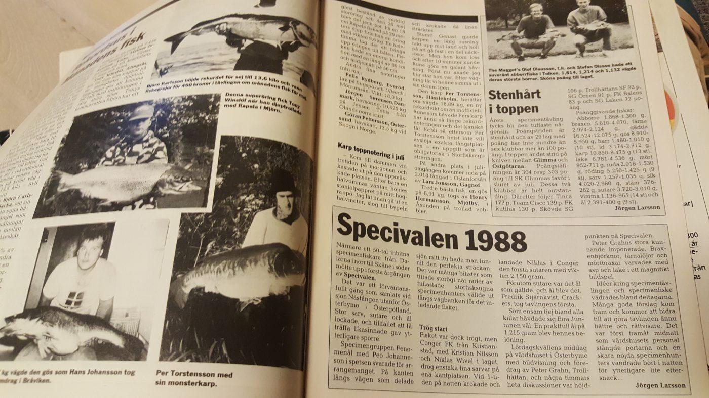 Specimenfisket i Sverige 1988