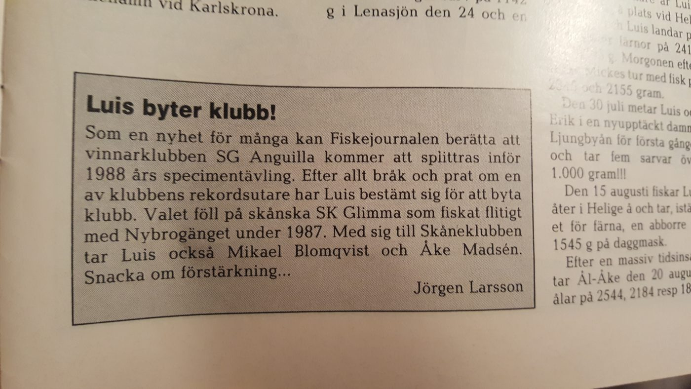 Specimenfisket i Sverige 1988