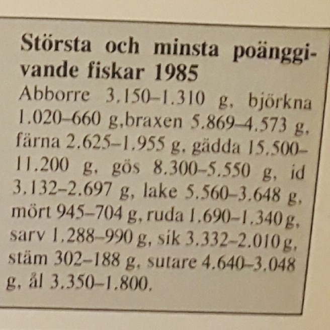 Specimenfisket i Sverige 1986