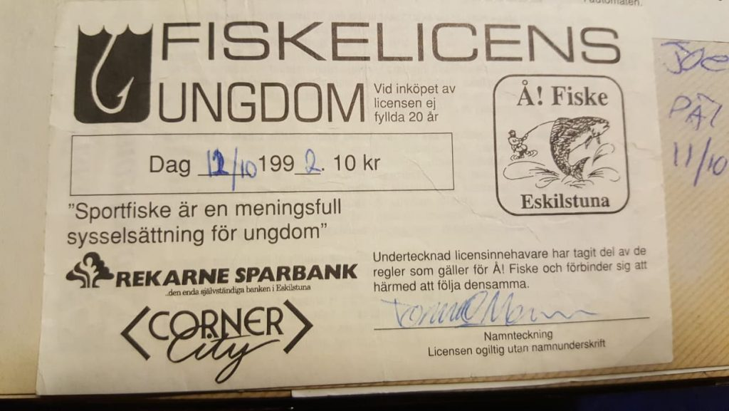 Tombas första fiskekort 1992 för Å! Fiske