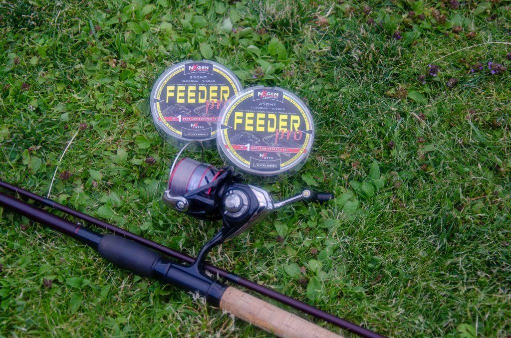 Colmic Feeder Pro i 0,208 linan laddad på en Daiwa rulle och ett Drennan feederspö.