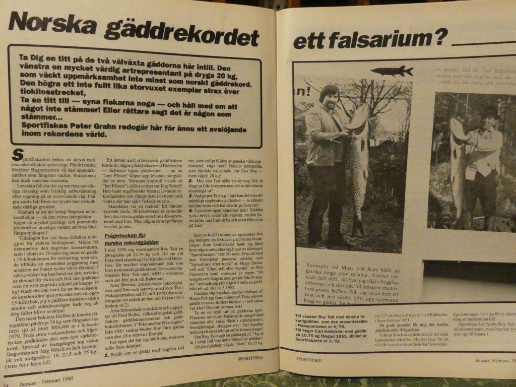 Norskt gäddrekord, fusk