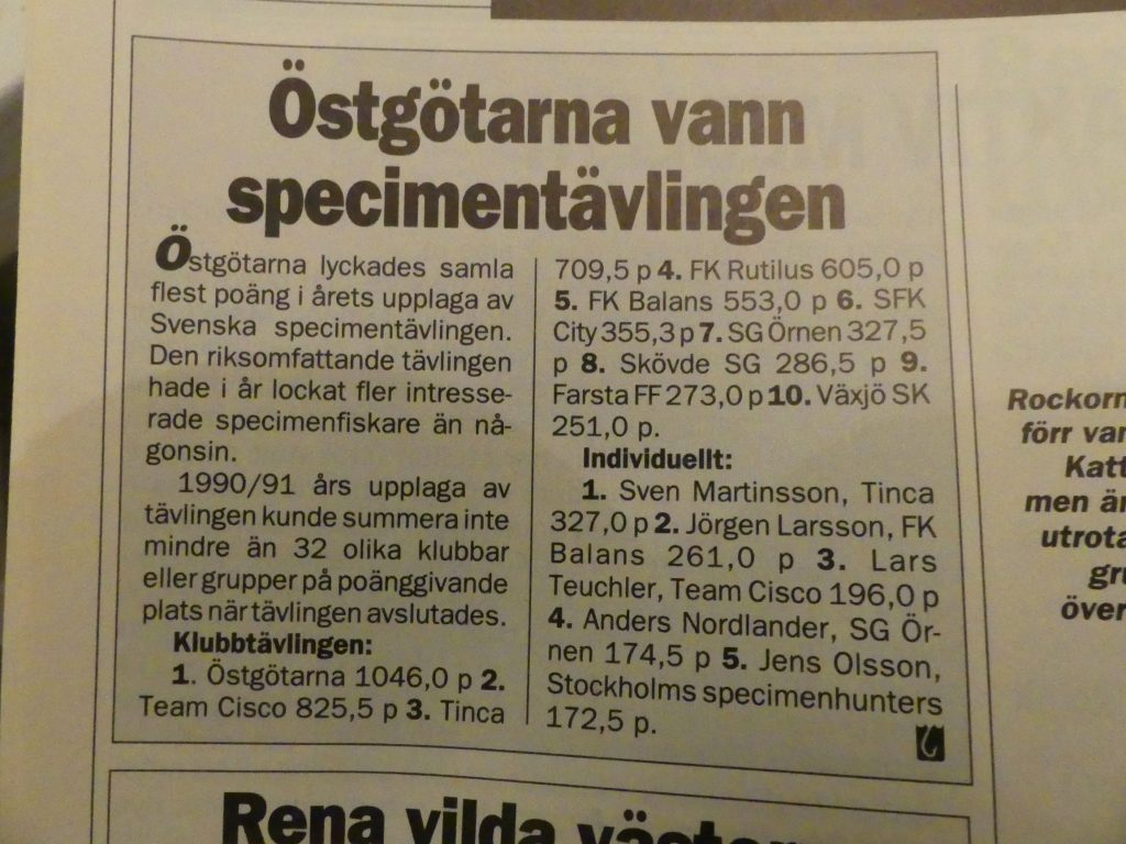 Specimenfisket i Sverige 1991